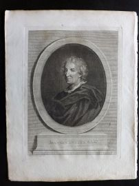 John Evelyn - Silva 1801 Antique Print. Portrait of Evelyn by Bartolozzi